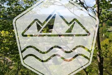 Elkinite Logo over Fox Forest