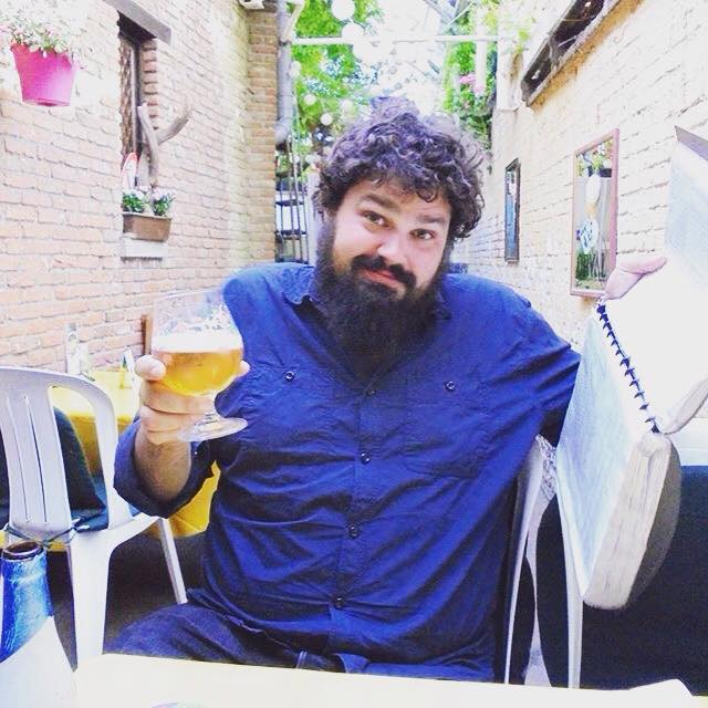 Seth in Antwerp enjoying a beer.