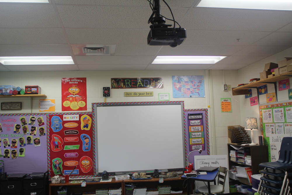 A view of much of the classroom technology including the SMART Board and projector.